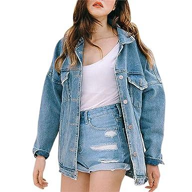 Women Blue Denim Jacket Fashion Outwear Oversize Casual Loose Vintage Long Coat