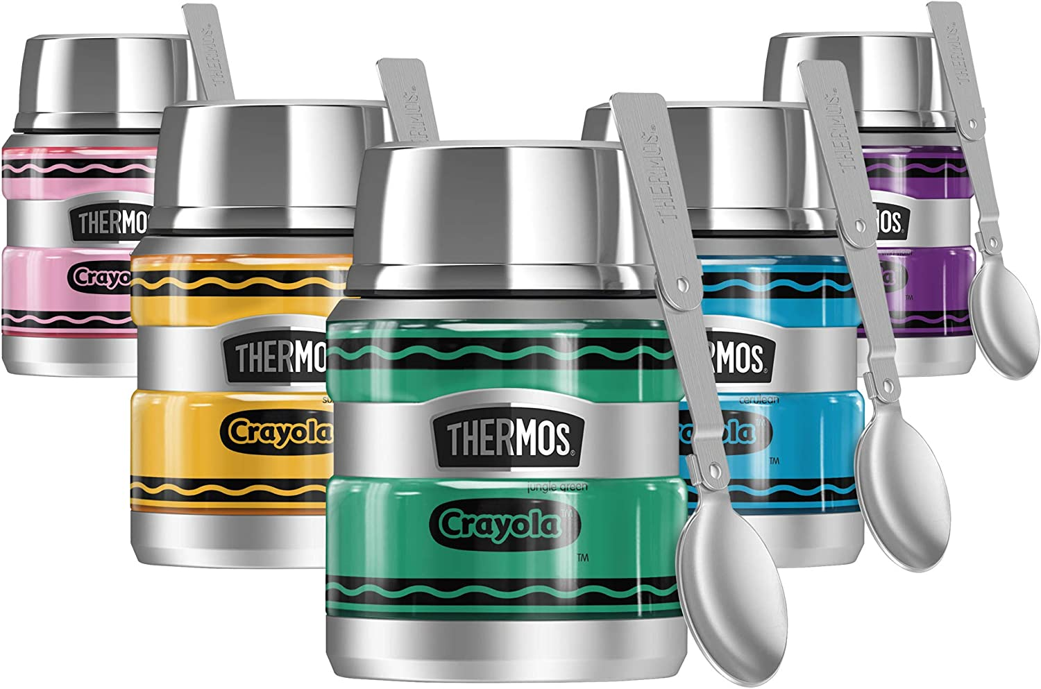 Crayola Jungle Green Crayon THERMOS STAINLESS KING Stainless Steel Food Jar with Folding Spoon, Vacuum insulated & Double Wall, 16oz