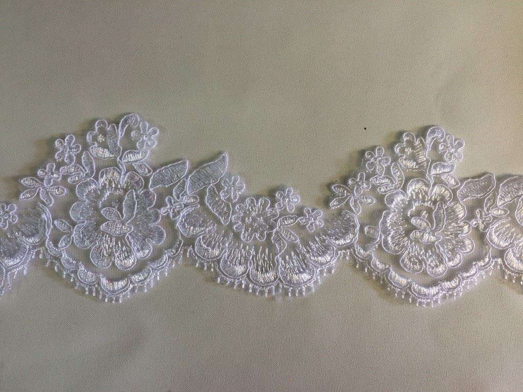 2 Yards 4 Wide of Floral Bridal Lace on Mesh with Scallops Amore Fabrics