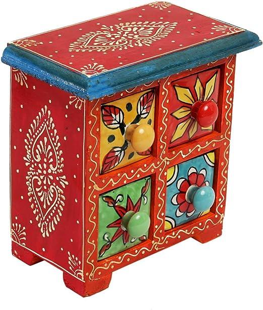 Regalo de Navidad colores pintada a mano de madera joyería caja de ...