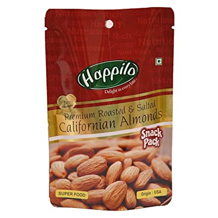 HappiloPremium Roasted and Salted Californian Almonds, 35g (Pack of 12)