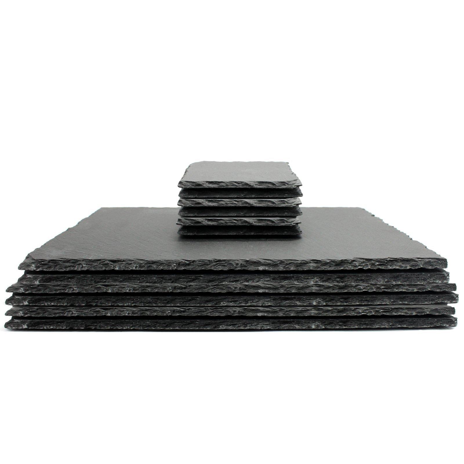 Pack of Slate Coasters Non-Slip /& Heat Resistant Fine Cut Square M/&W