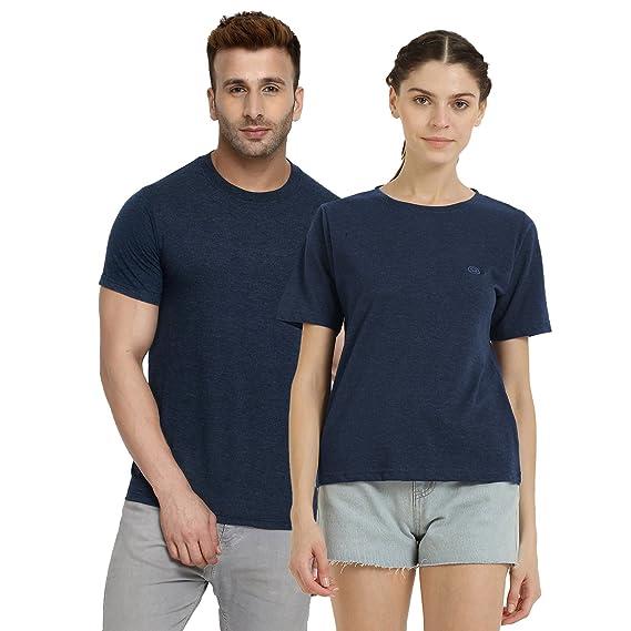 986455b72 CHKOKKO Casual Couple Tshirt Plain Polo Round Neck Half Sleeve for Men and  Women Dark Blue