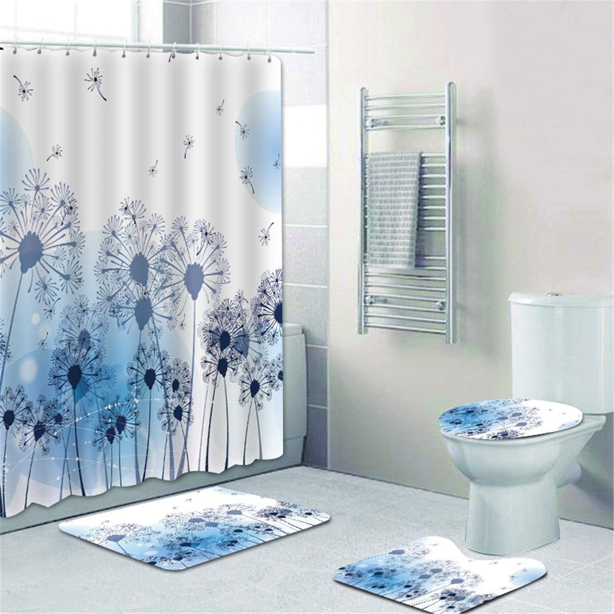 MrLYouth Blue Dandelions with Seeds Blowing in The Wind Bathroom Sets Shower Curtain Sets with 12 Hooks,Non-Slip Rugs,Toilet Lid Cover and Bath Mat,Romantic Waterproof Bathroom Decor