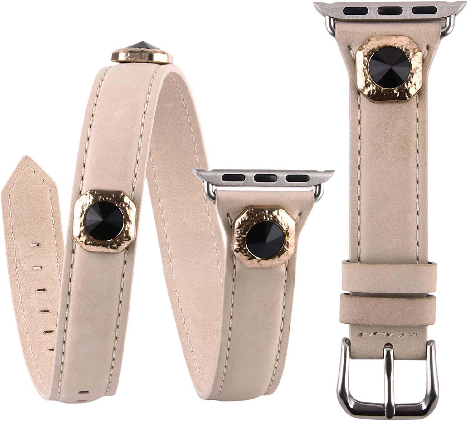 VIQIV Multi Wrap Leather Bracelets Compatible with Apple Watch 38mm 40mm 42mm 44mm iwatch SE Series 6 5 4 3 2 1 for Women Girls, Bling Studs Cuff Jewelry Fancy Smartwatch Wristband Strap Accessories
