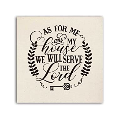 As For Me and My House, We Will Serve the Lord, Burlap Texture Print