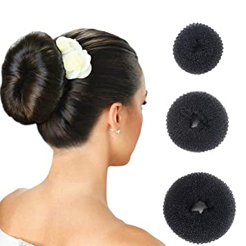 Hair Donut Bun Maker Ring Style Doughnut Shaper Chignon Former For Creating Updo Pack Of 3 Pieces 1large 1middle 1samll Black