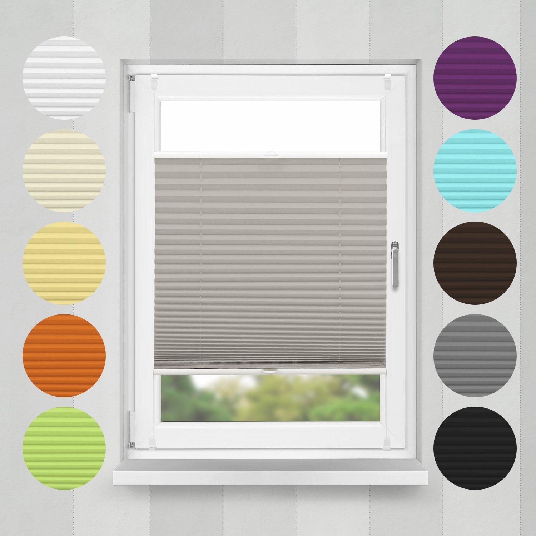 Home-Vision Plissee Faltrollo ohne Bohren mit Klemmträger   -fix (Grau, B160cm x H200cm) Blickdicht Sonnenschutz Jalousie für Fenster & Tür B01N17O5CT Plissees
