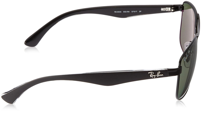 4d95a7c227 Amazon.com  Ray-Ban STEEL MAN SUNGLASS - BLACK Frame POLAR GREEN Lenses  57mm Polarized  Clothing