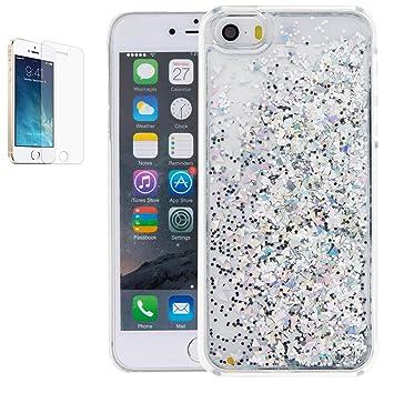 cc1ec24d372 APPLE iPhone 5/5s/SE móvil con protector de pantalla, ultra slim Crystal  Clear lentejuelas Bling ...