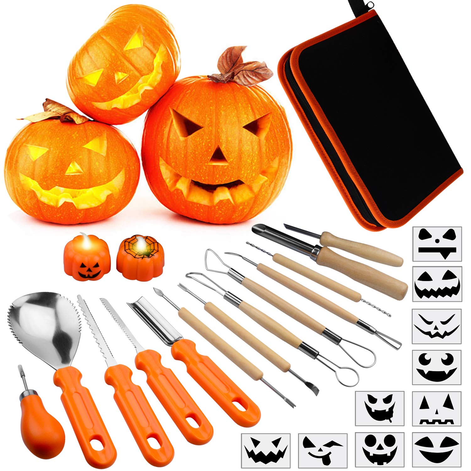 Pumpkin Carving Kit for Kids, 13 Pieces Halloween Pumpkin Carving Tools Set, 2 LED Pumpkin Candles & 10 Carving Stencils with Carrying Case Halloween Decorations by OPPMART