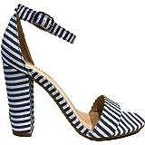 Bamboo Frenzy-20S Ankle Strap Block Heel Open Toe Canvas Sandal Stripe Blue & White