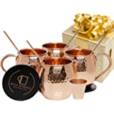 Mule Science Moscow Mule Copper Mugs - Set of 4-100% HANDCRAFTED - Pure Solid Copper Mugs 16 oz Gift Set with BONUS: Highest Quality Cocktail Copper Straws, Coasters and Shot Glass!