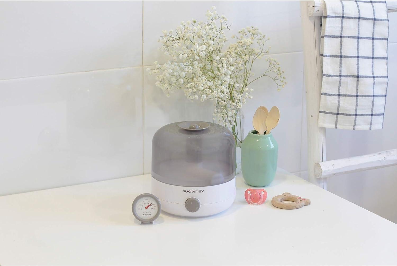 Suavinex 400804 Humidificador Silencioso de Vapor en Frío para Bebés con Preciso Higrómetro Tecnología Ultrasonido, Color Blanco/ Gris: Amazon.es: Bebé
