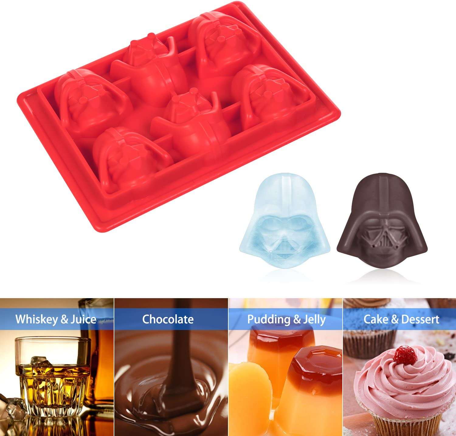 Gelatin Dessert Ice Mould Cube Tray Shape Chocolate Mold -Family care 6 X Silicone Ice Cubes Chocolate Candy