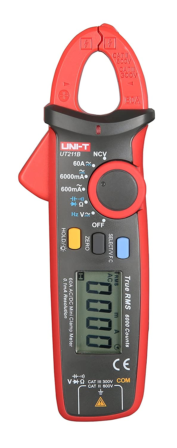 UNI-T UT211B 6000 Count True RMS 60A AC/DC 0.1mA Resolution Digital Clamp Meter with Resistance, Capacitance, Frequency Measurement and NCV Test