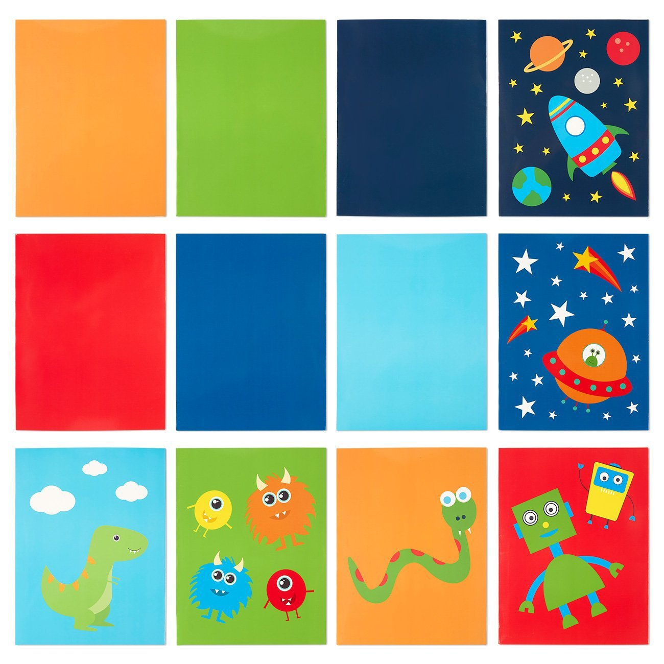 Two Pocket Folders Bulk - 12-Pack Letter Size File Folders, 12 Outer Space and Color Designs, School Folders with Pockets, 12 x 9.25 inches