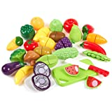 27-Pack of Plastic Play Food for Kids - Children's Play Food, Pretend Food Play Set, Cutting Fruit Learning Assortment, Multi-Colored