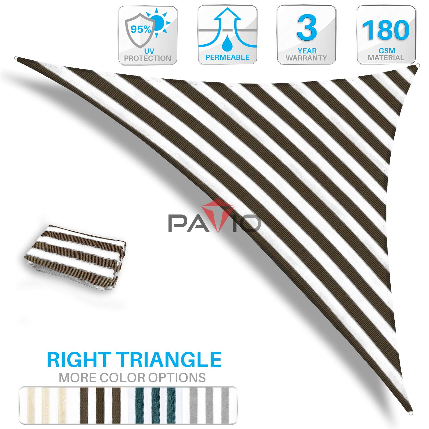 Patio Paradise 10' x 10' x 14.1' Brown & White Stripes Sun Shade Sail Right Triangle Canopy, 180 GSM Permeable Canopy Pergolas Top Cover, Permeable UV Block Fabric Durable Outdoor