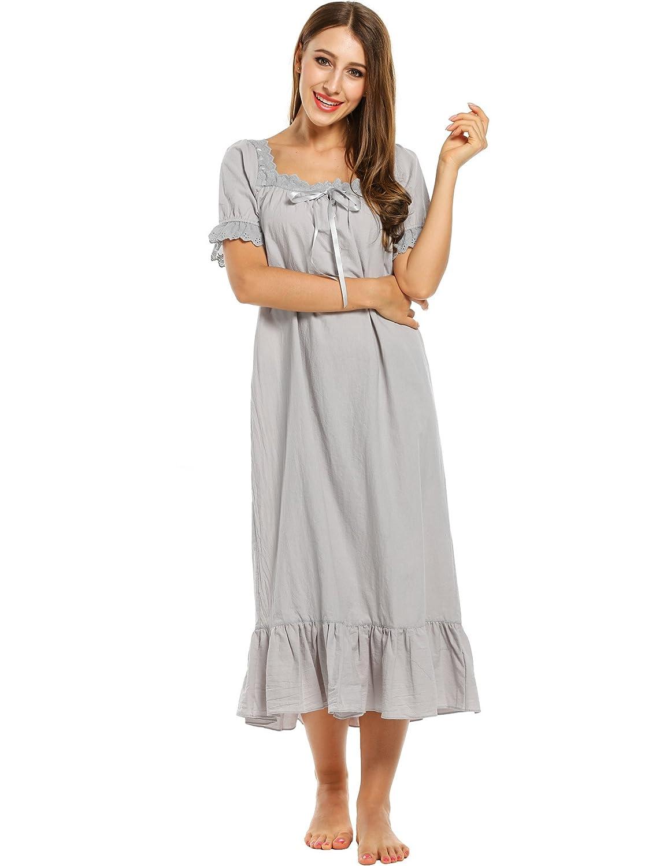 418c963148 Avidlove Womens Cotton Victorian Vintage Short Sleeve Martha Nightgown  Sleepwear