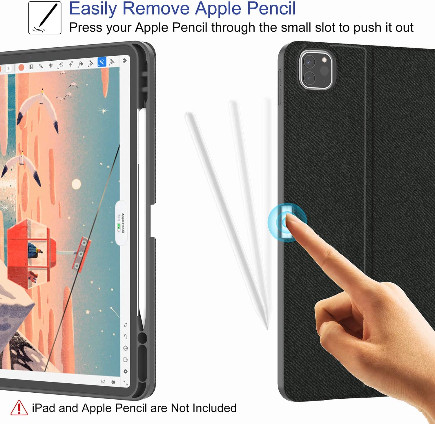 Supveco iPad Pro 12.9 Case 2020 4th Generation with Pencil Holder Imitation Denim Support 2nd Gen Apple Pencil Charging Soft TPU Back Cover with Auto Sleep//Wake/ for iPad Pro 12.9 Inch Case Black