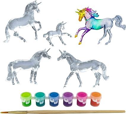 1:32 Scale 3 Unicorn Set Horse Toy Breyer Horses Stablemates Unicorn Family Paint Set Model #4262