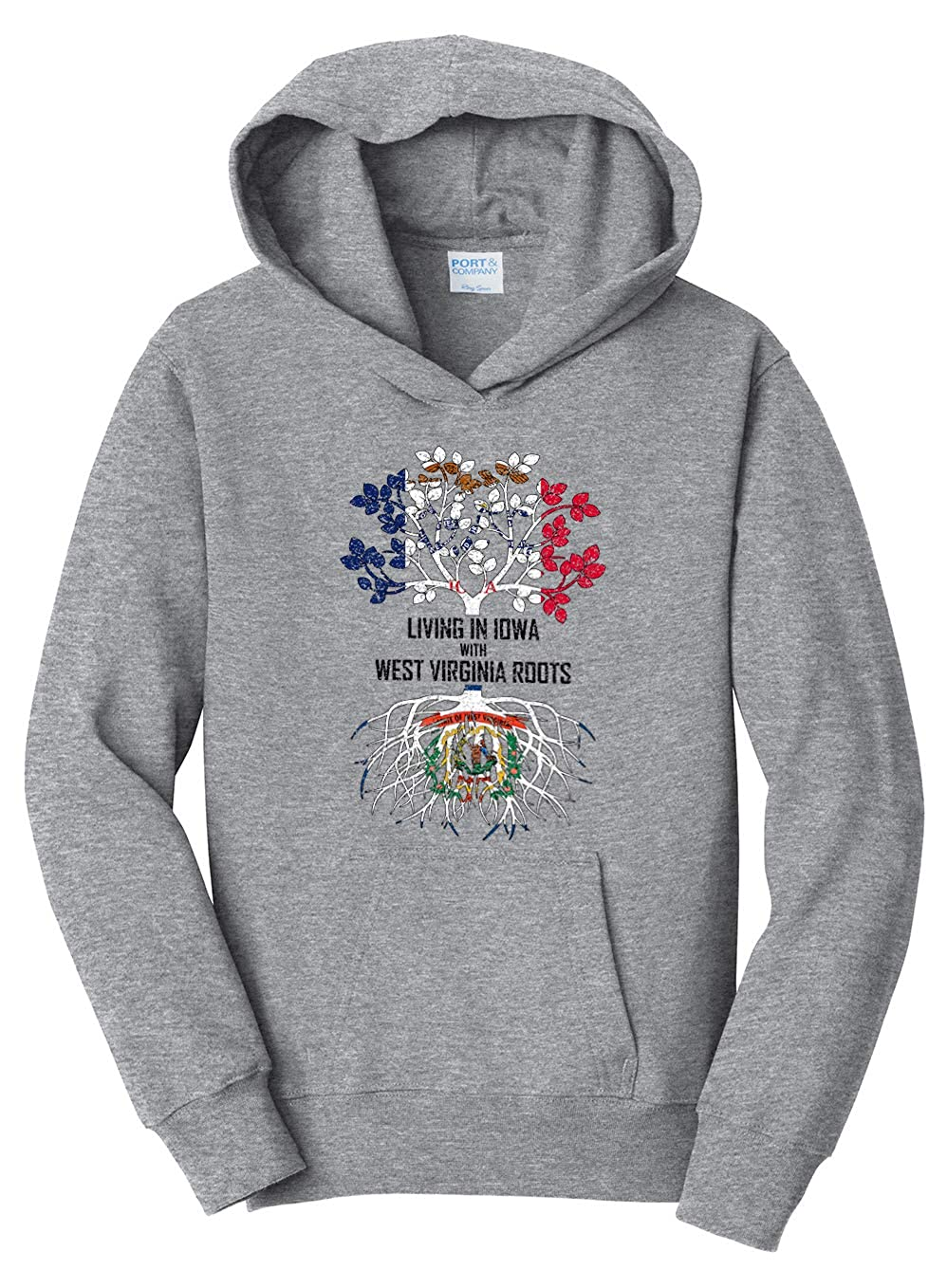 Tenacitee Girls Youth Living in Iowa with West Virginia Roots Hooded Sweatshirt Heather Grey Large