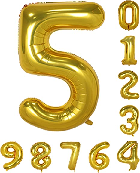 Red Numbers Mylar Decorations of Arabic Numerals 2 Gold treasure Zero-Nine 40 inch Birthday Party Balloon 0-9