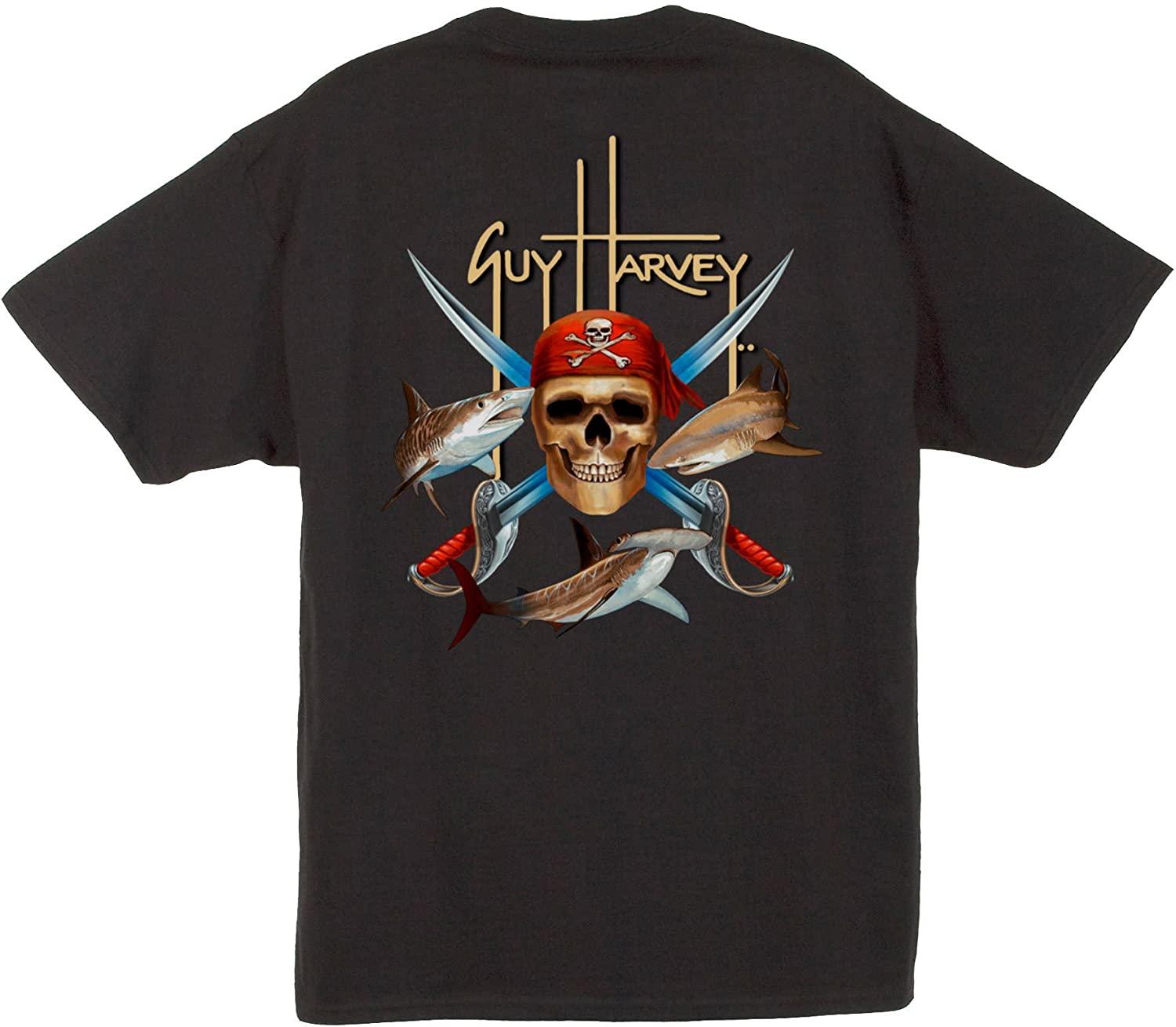 26989032 The tee is the pocketed Hanes Beefy Tee with Guy Harvey's art printed on.  Full back 14 screen design of Guy Harvey's amazingly detailed and colorful  ...