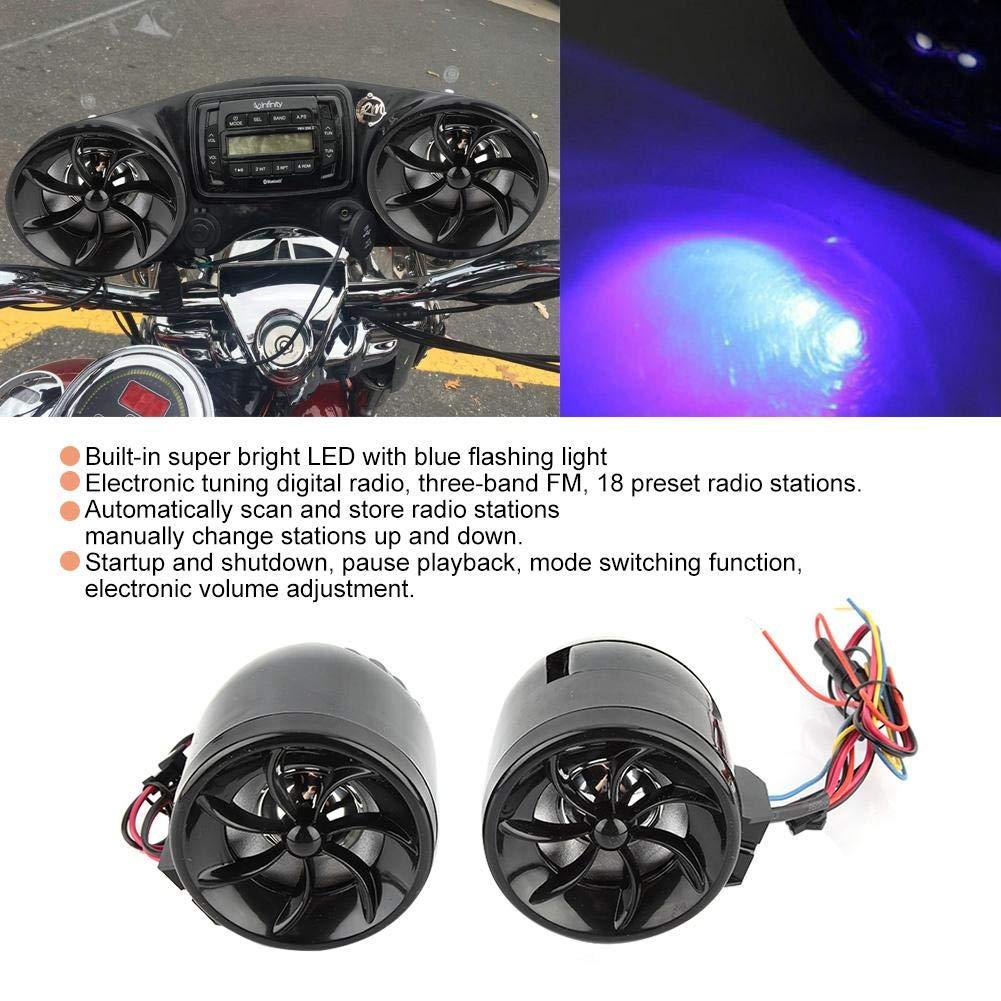 EBTOOLS Alarma de la Motocicleta ATV Sistema de Sonido de Audio Est/éreo Altavoces Radio Reproductor de M/úsica MP3 ATV Control Remoto Alarma Altavoz Scooter Revestimiento