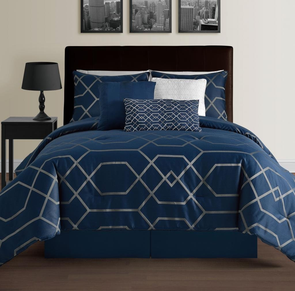 amazoncom hampton piece modern geometric comforter set  down  - amazoncom hampton piece modern geometric comforter set  downalternative hypoallergenic comforters  comforter bed skirt bolsterpillow and  shams