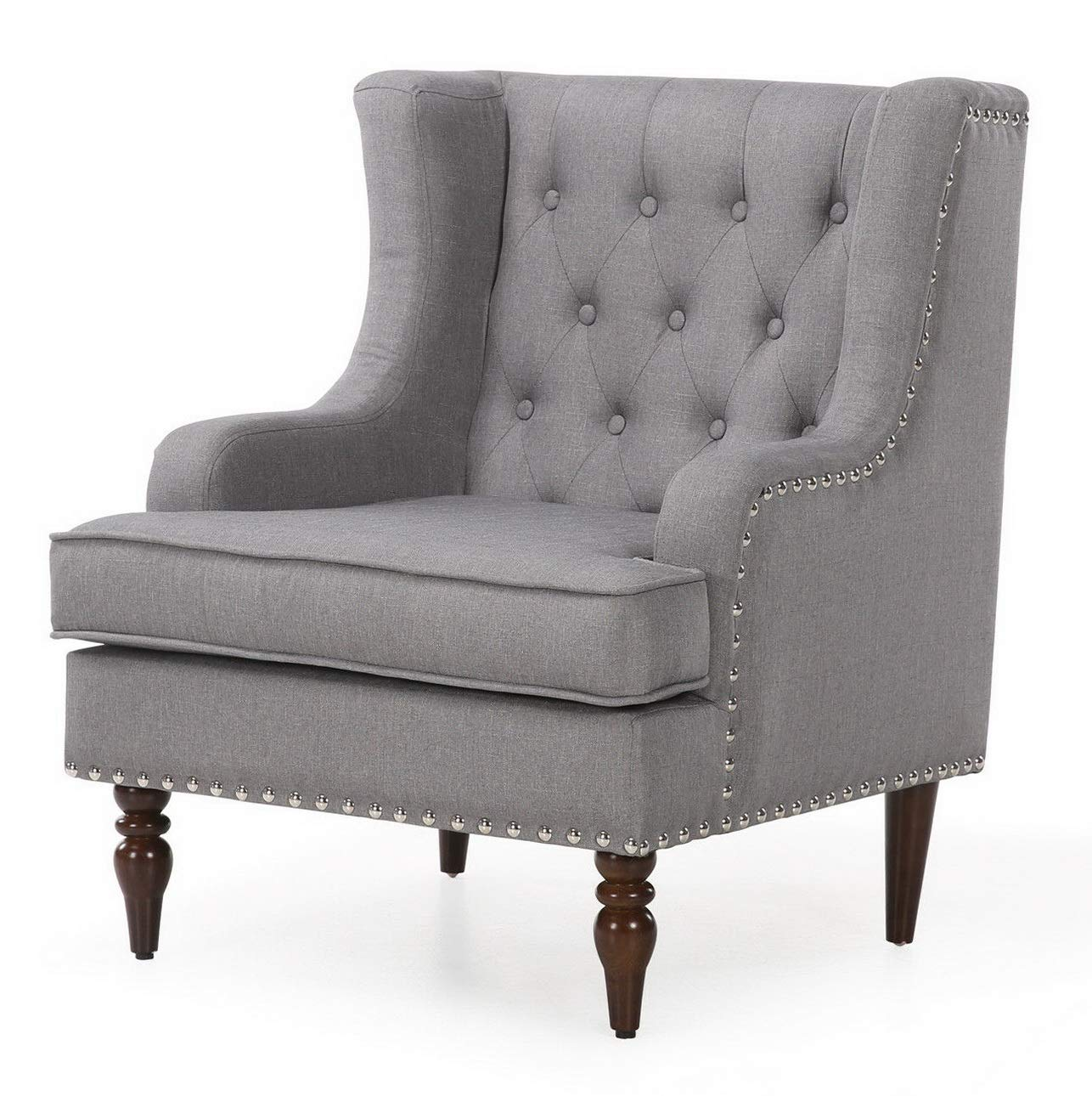 Amazon.com: Hebel Upholstered Elegant Classic Stylish Button Tufted Accent Chair w/Nail Head Trim | Model CCNTCHR - 447 |: Kitchen & Dining