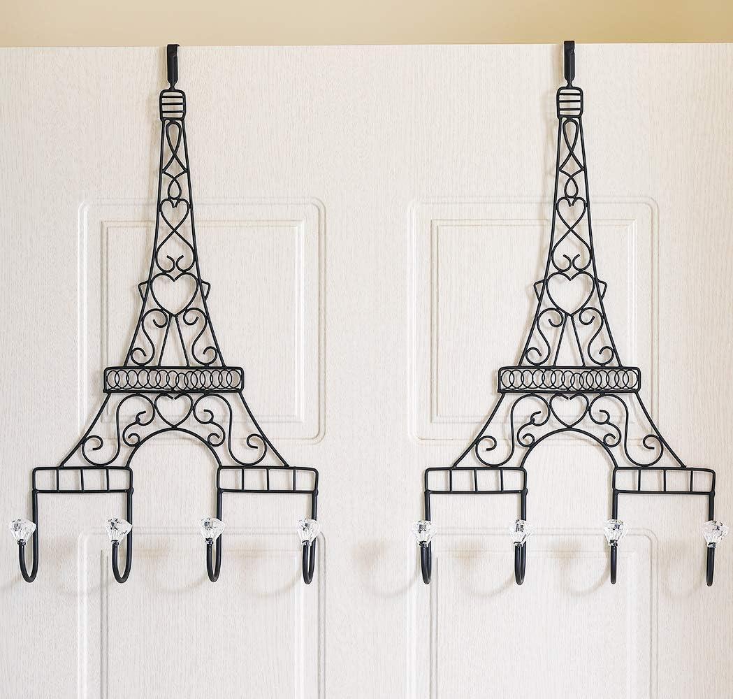 Ticco 2 Pack Long Over The Door Hooks Black Decorative Metal Door Hanger with Acrylic Knobs Large Paris Eiffel Tower Shaped Towel Coat Clothes Hat Rack(20.5