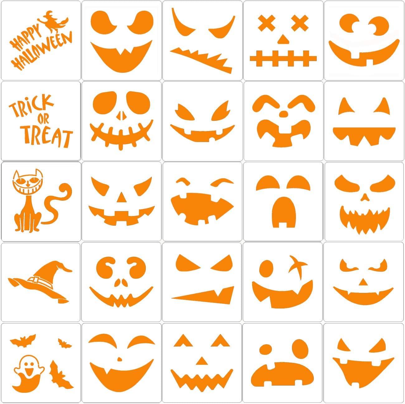 Amazon Com 25 Pieces Halloween Drawing Stencils Pumpkin Faces Stencil For Diy Pumpkin Carving Reusable Painting Templates For Kids