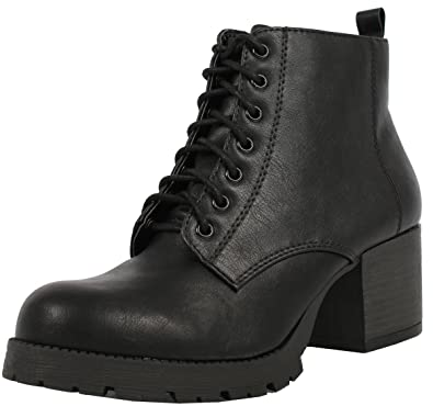 daa5fb9d41bc SODA Women s Nevitt Faux Leather Lace Up Chunky Heel Combat Style Boots