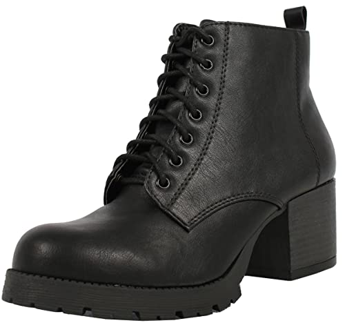 Soda Womens Nevitt Faux Leather Lace Up Chunky Heel Combat Style Boots Black 5 5