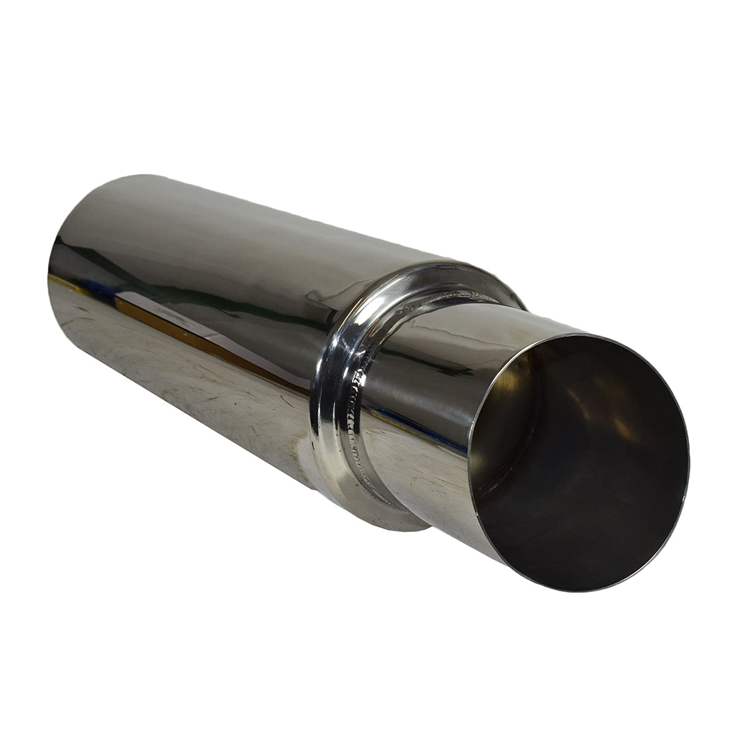 """4/"""" Jap Style Universal Exhaust 2/""""//51mm Inlet Stainless Steel Back Box"""