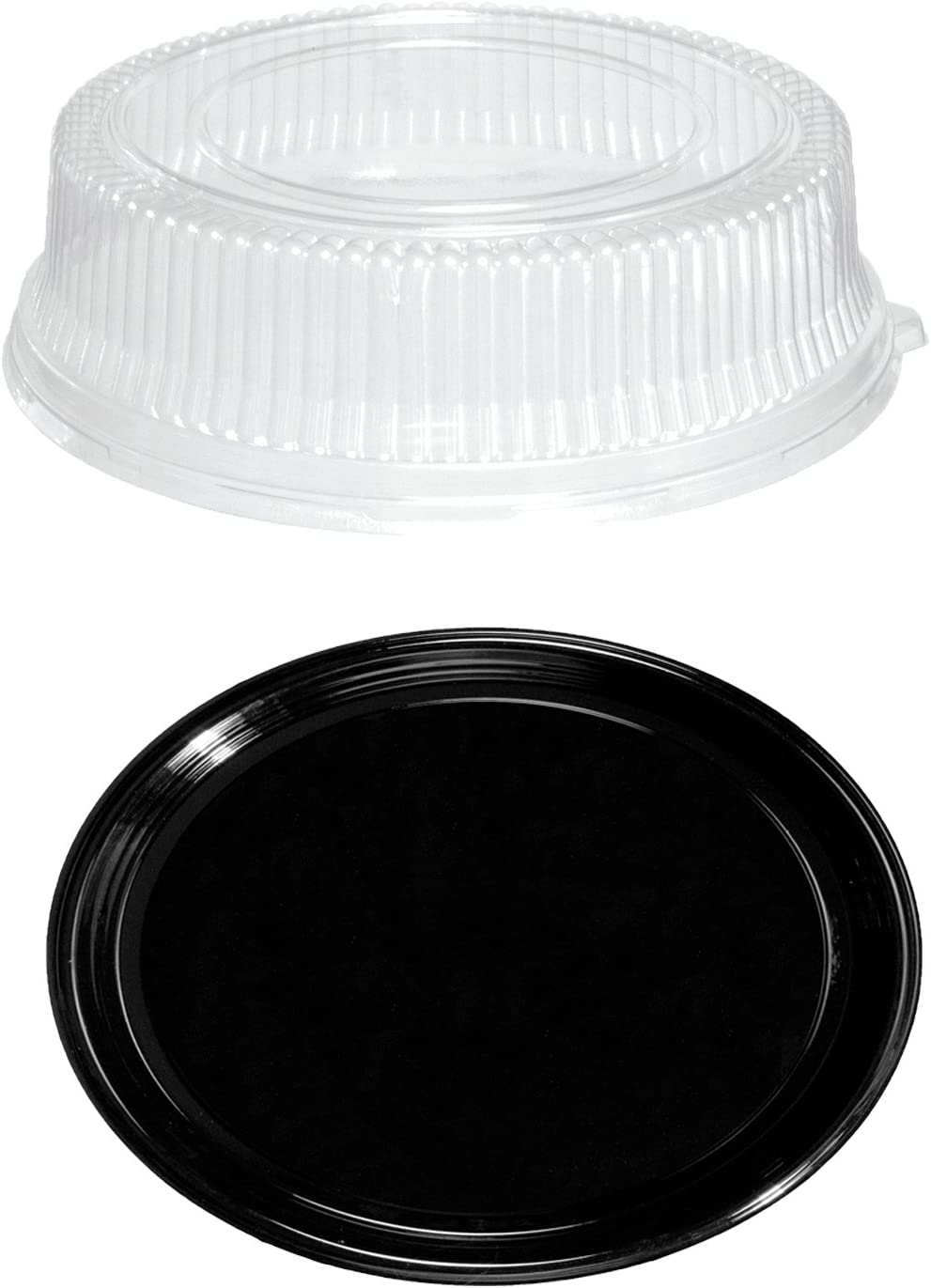 Party Essentials Soft Plastic 12-Inch Round Flat Serving/Catering Trays, Black with Clear Dome Lids, Set of 2