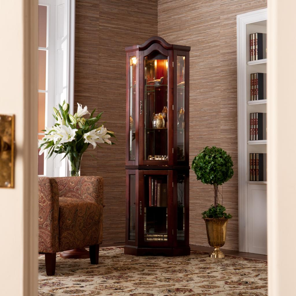 southern enterprises lighted corner display. Black Bedroom Furniture Sets. Home Design Ideas