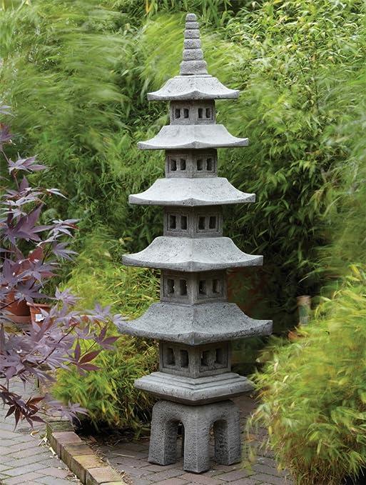 Adornos de jardín chino tamaño grande - Juego de Seven Pagoda farol japonés: Amazon.es: Jardín