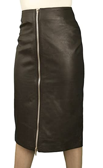 221efd829aa6 Black Genuine Real Luxury Leather Pencil Midi Skirt with Full Front Zip  (Below Knee 27in