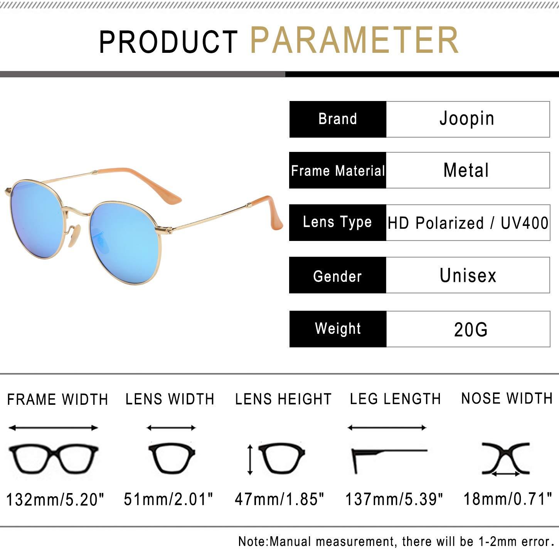 joopin-men Retro Marca anteojos De Sol Polarizadas Mujer Redondo de anteojos  de sol clásico aebf9066c8a6