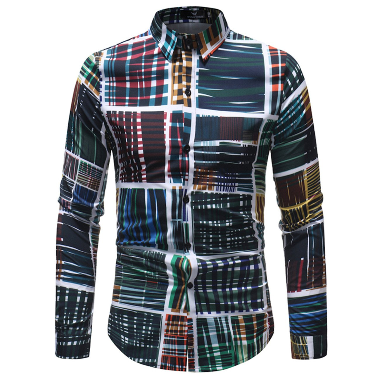 Mens Floral Printed Design Leisure Long-Sleeved Button Down Shirts
