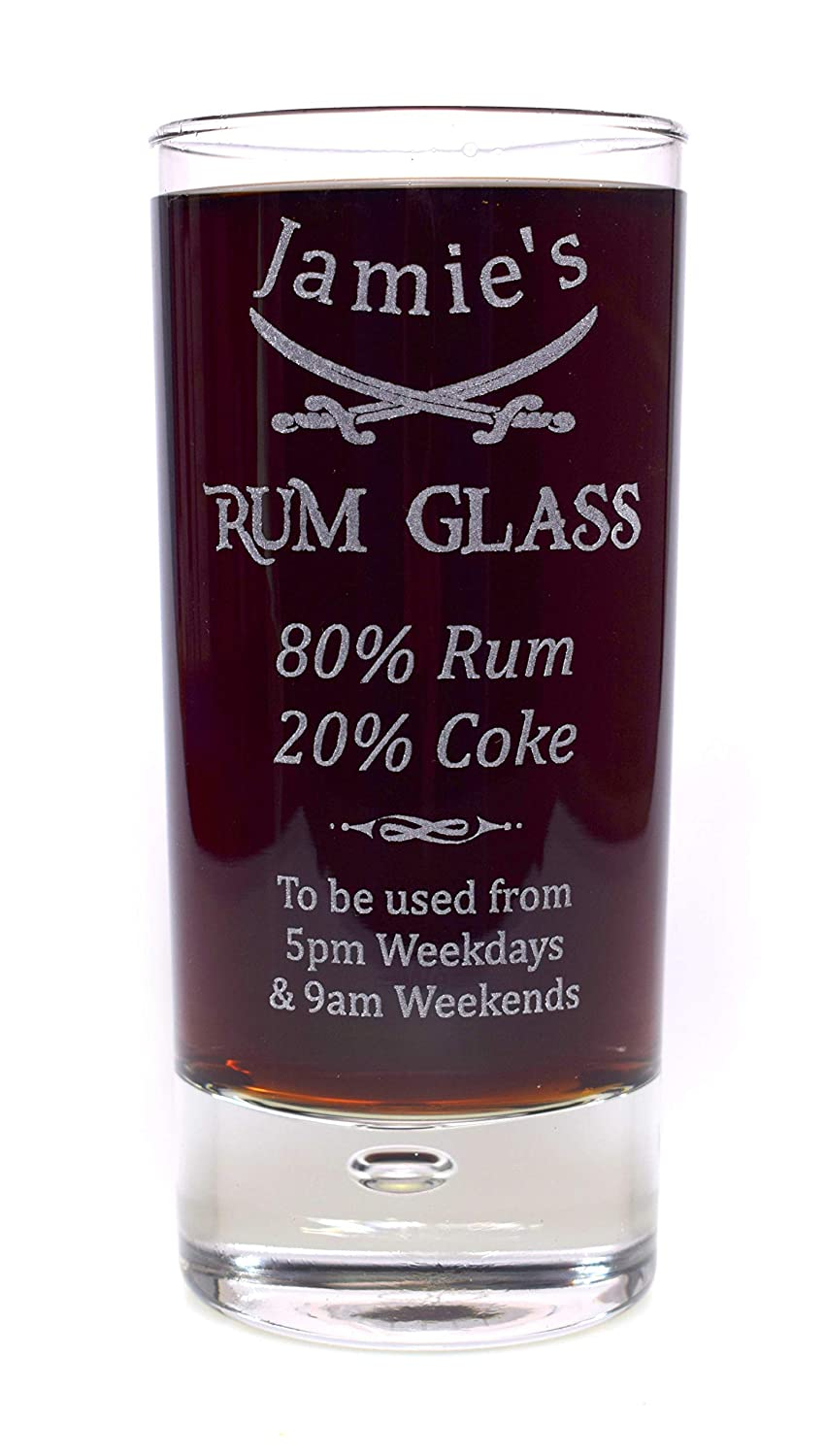 Engraved//Personalised *Rum/% Design* Bubble Based Highball Glass Gift for Boxed