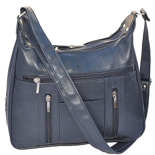 670ee3caff Genuine Soft Leather Navy Blue Shoulder Bag Purse  Handbags  Amazon.com
