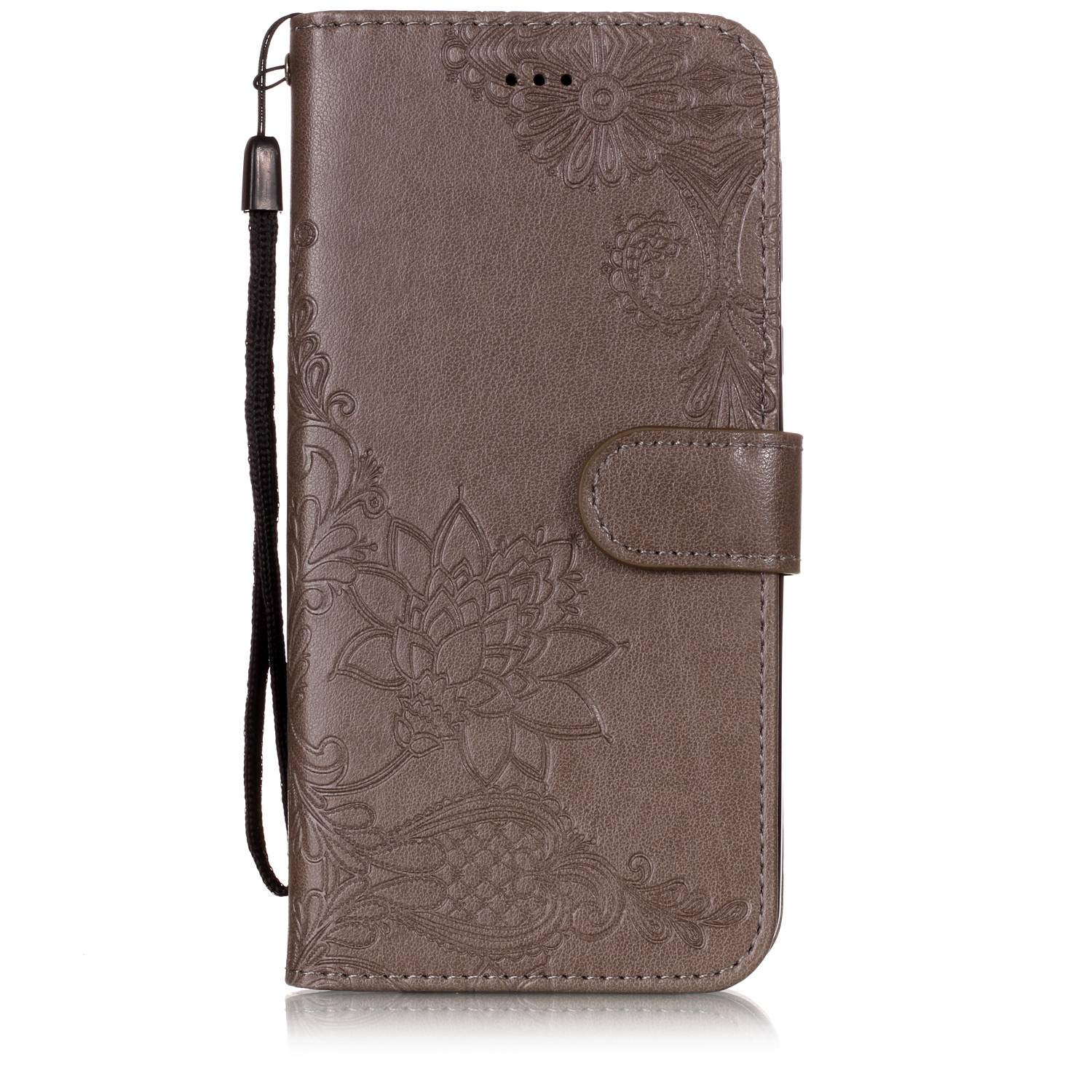 Shinyzone Wallet Case for Moto G6 Plus,Embossed Henna Mandala Pattern Series,Smart Stand and Magnetic Closure Leather Folio Flip Cover with ID Credit Card Slots-Gray