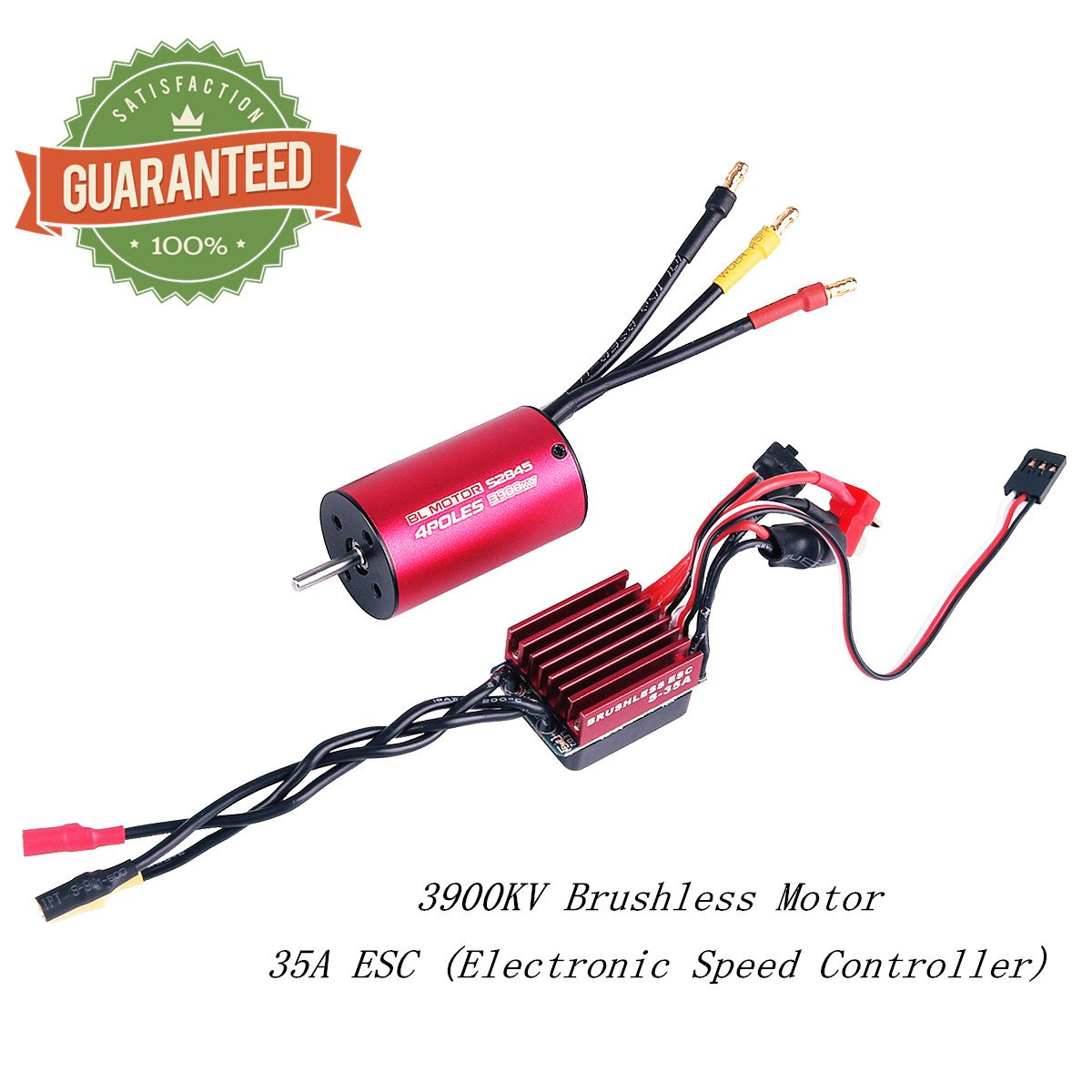 3670 2150KV 5mm Sensorless Brushless Motor with 80A Splashproof ESC (Electric Speed Controller) for 1/8 RC Car Truck Running Off-Road Vehicle by Crazepony-UK