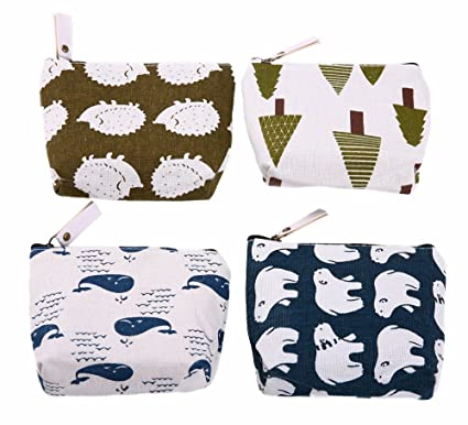 9496bdb375bf Bonaweite Animal Canvas Change Coin Purse Cash Bag Small Wallets Wallet Bag  Pouches Dollar Gifts with Zip and Liner