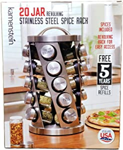 Contemporary Spice Rack Stainless Steel 20 Jars Revolving Rack for Easy Access,Spices Included Plus Free 5 Years of Refills, Filled in USA