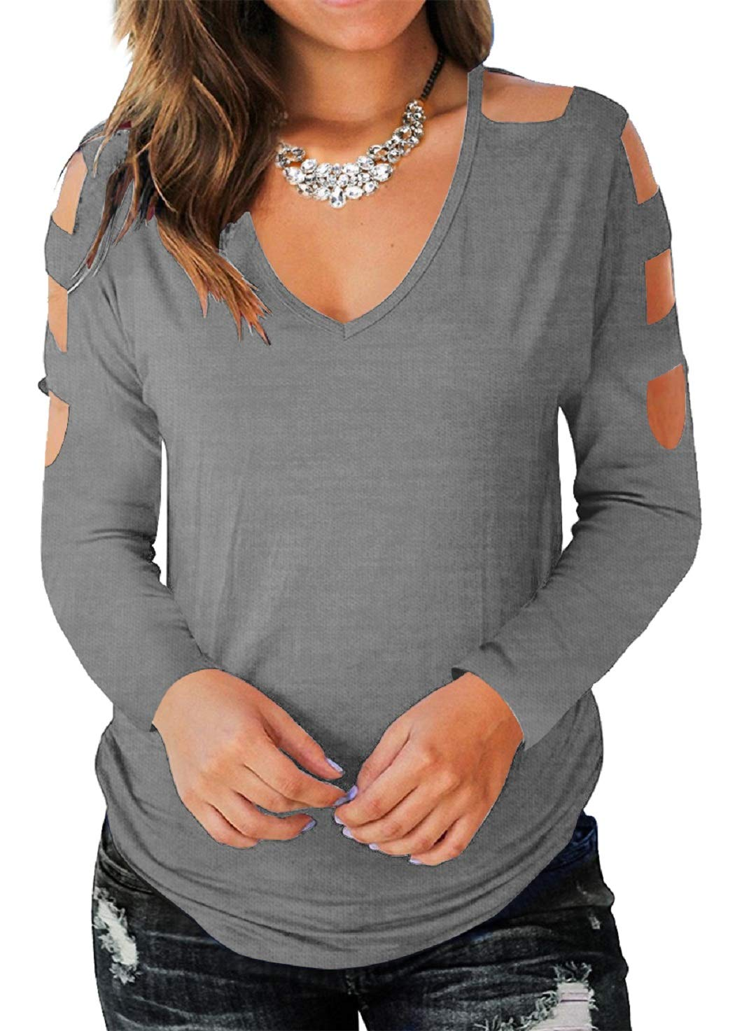 Eanklosco Women's Long Sleeve V Neck Cold Shoulder Cut Out T Shirts Casual Tunic Tops (L, Grey)